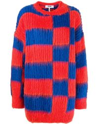MSGM Oversized checked jumper - Rosso