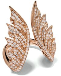 Stephen Webster - 18kt Rose Gold Magnipheasant Diamond Pavé Open Feather Ring - Lyst