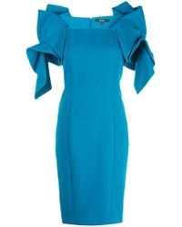 Badgley Mischka - Kleid mit gerüschten Ärmeln - Lyst
