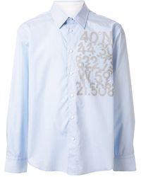 Calvin Klein Рубашка В Тонкую Полоску С Принтом - Синий