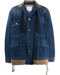 Sacai オーバーサイズ デニムジャケット - ブルー