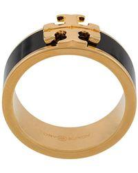 Tory Burch Enamelled Logo Ring - Black