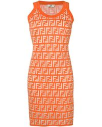 Fendi Logo Knit Mini Dress S/less Kumquat - Orange