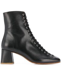 BY FAR Becca Lace-up Leather Ankle Boots - Black