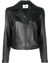 Fendi Ff Logo Band Leather Jacket - Black