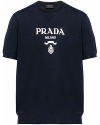 Prada ショートスリーブ ニットトップ - ブラック