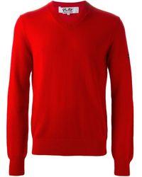 COMME DES GARÇONS PLAY V-neck sweater - Rosso