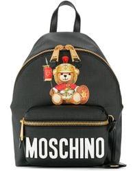Moschino Mochila con estampado de osito - Negro