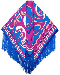 Emilio Pucci Psychedelic Pattern Fringed Scarf - Blue