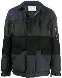 Sacai カラーブロック パデッドジャケット - ブラック