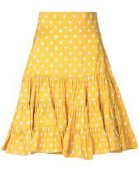 Bambah Polka Dot Print Silk Skirt - Yellow