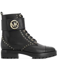MICHAEL Michael Kors Tatum Leather Combat Boots - Black