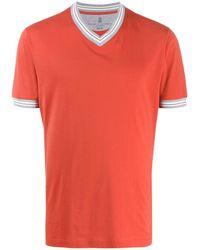 Brunello Cucinelli - ストライプトリム Tシャツ - Lyst
