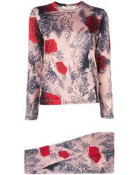 Comme des Garçons Rose Print T-shirt And leggings Set - Multicolor