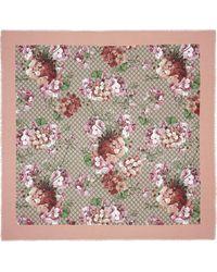 Gucci Pañuelo en seda y modal con estampado Blooms - Rosa