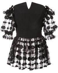 Christian Siriano - Embroidered Floral Blouse - Lyst