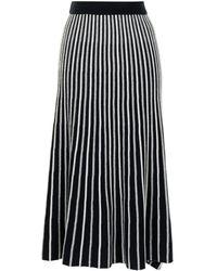 N.Peal Cashmere ストライプ ニットスカート - ブラック