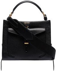 Tom Ford Mini Top Handle Leather Shoulder Bag - Black