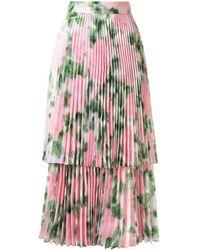 Richard Quinn Falda plisada con motivo floral - Rosa