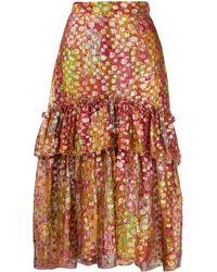 Dundas Abstract Print Layered Skirt - Brown