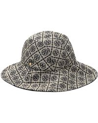Tory Burch Jacquard-logo Bucket Hat - Gray