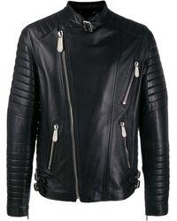Philipp Plein Leather Biker Jacket - Black