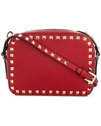 d30e12ee97f4 Lyst - Valentino Garavani Rockstud Shoulder Bag in Red