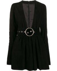 Manokhi Vネック ドレス - ブラック