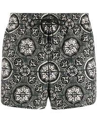 Dolce & Gabbana Zwembroek Met Tegelprint - Zwart