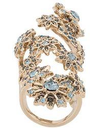Marchesa Floral Hinge Ring - Blue
