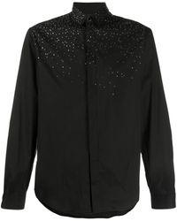 Just Cavalli Crystal-embellished Long-sleeve Shirt - Black