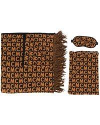MCM ロゴ フリンジ スカーフ セット - ブラウン