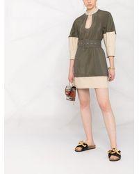 Chloé Платье Мини С Пышными Рукавами И Поясом - Зеленый