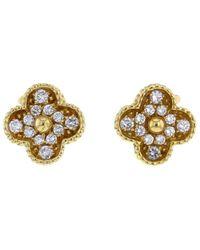Van Cleef & Arpels 2010 Pre-owned 18kt Yellow Gold Alhambra Diamond Clip-on Earrings - Metallic
