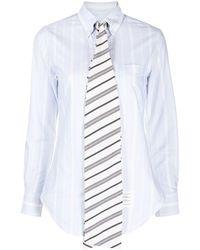 Thom Browne Camisa a rayas con cuello con pajarita - Azul