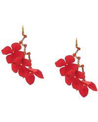 Marni Oversized Flora Earrings - Red