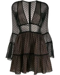 DSquared² Flocked Tulle Flounce Dress - Black