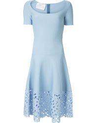Oscar de la Renta Lace Hem Dress - Blue
