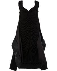 Maison Margiela Vestido fruncido con dobladillo asimétrico - Negro