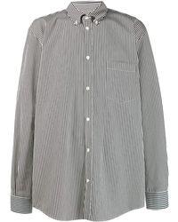 Balenciaga ストライプ ロゴ シャツ - グレー