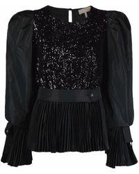 Elie Saab Sequin-embellished Taffeta Top - Black