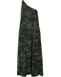 The Upside Camouflage One Shoulder Midi Dress - Green
