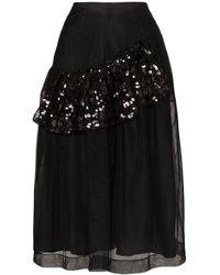 Simone Rocha ラッフル スパンコールミディスカート - ブラック