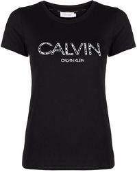 Calvin Klein フローラル ロゴ Tシャツ - ブラック