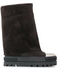 Casadei Contrasting Toe Platform Boots - Gray
