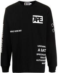 A Bathing Ape Slogan-print Cotton Sweasthirt - Black