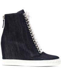 Casadei - Denim Wedge Sneakers - Lyst