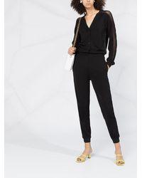 Karl Lagerfeld クレープ ジャンプスーツ - ブラック
