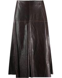 Arma ハイウエスト レザースカート - ブラウン