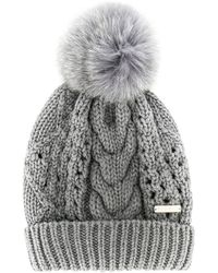 Woolrich ポンポン ケーブルニット帽 - グレー